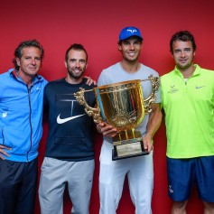 Rafael Nadal of Spain poses for a picture with his team holding the winner's trophy after winning the Men's Singles final against Nick Kyrgios of Australia on day nine of the 2017 China Open at the China National Tennis Centre on October 8, 2017 in Beijing, China. (Oct. 7, 2017 - Source: Etienne Oliveau/Getty Images AsiaPac)