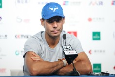 Rafael Nadal of Spain attends a press conference after winning the Karen Khachanov of Russia during the Men's singles 2rd round on day six of 2017 China Open at the China National Tennis Centre on October 5, 2017 in Beijing, China. (Oct. 4, 2017 - Source: Lintao Zhang/Getty Images AsiaPac)