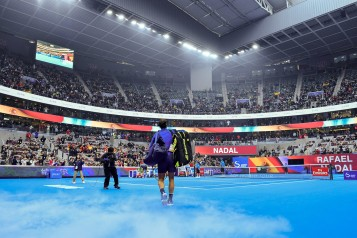 Rafael Nadal of Spain arrives on the court before his MenÕs single semifinal match against Grigor Dimitrov on day eight of the 2017 China Open at the China National Tennis Centre on October 7, 2017 in Beijing, China. (Oct. 6, 2017 - Source: Etienne Oliveau/Getty Images AsiaPac)