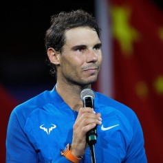 Rafael Nadal of Spain speak during the award ceremony after losing his Men's singles final match against Roger Federer of Switzerland on day eight of 2017 ATP Shanghai Rolex Masters at Qizhong Stadium on October 15, 2017 in Shanghai, China. (Oct. 14, 2017 - Source: Lintao Zhang/Getty Images AsiaPac)