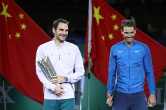 Roger Federer of Switzerland with Rafael Nadal of Spain pose with their trophy after the Men's singles final mach on day eight of 2017 ATP Shanghai Rolex Masters at Qizhong Stadium on October 15, 2017 in Shanghai, China. (Oct. 14, 2017 - Source: Lintao Zhang/Getty Images AsiaPac)