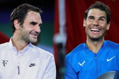 Roger Federer of Switzerland talk with Rafael Nadal of Spain during the award ceremony after the Men's singles final mach on day eight of 2017 ATP Shanghai Rolex Masters at Qizhong Stadium on October 15, 2017 in Shanghai, China. (Oct. 14, 2017 - Source: Lintao Zhang/Getty Images AsiaPac)