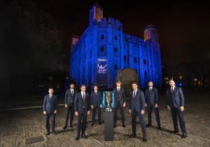 The WorldÕs top eight players attend the 2017 Nitto ATP Finals Official Launch, presented by Moet & Chandon, at the Tower of London. (L-R) David Goffin of Belgium, Marin Cilic of Croatia, Roger Federer of Switzerland, Dominic Thiem of Austria, Alexander Zverev of Germany, Rafael Nadal of Spain, Grigor Dimitrov of Bulgaria and Jack Sock of USA pose for a group photo during the The Official Launch ATP Finals at Tower of London on November 9, 2017 in London, England. (Nov. 8, 2017 - Source: Julian Finney/Getty Images Europe)