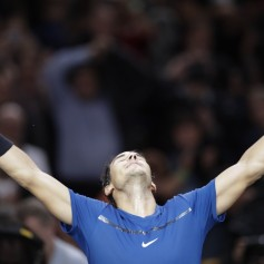 Spain's Rafael Nadal celebrates winning against Uruguay's Pablo Cuevas during the 1/8 round at the ATP World Tour Masters 1000 indoor tennis tournament on November 2, 2017 in Paris..Nadal won the match 6-3, 6-7 and 6-3. / AFP PHOTO / Thomas SAMSON (Nov. 1, 2017 - Source: AFP)