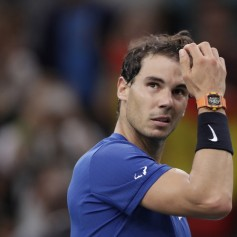 Spain's Rafael Nadal reacts after winning against Uruguay's Pablo Cuevas during the 1/8 round at the ATP World Tour Masters 1000 indoor tennis tournament on November 2, 2017 in Paris..Nadal won the match 6-3, 6-7 and 6-3. / AFP PHOTO / Thomas SAMSON (Nov. 1, 2017 - Source: AFP)