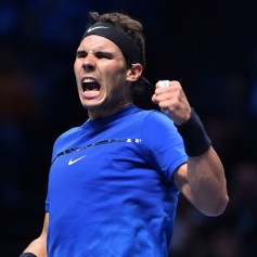 Spain's Rafael Nadal reacts to making the score 5-5 in the second set during his singles match against Belgium's David Goffin on day two of the ATP World Tour Finals tennis tournament at the O2 Arena in London on November 13, 2017. / AFP PHOTO / Glyn KIRK