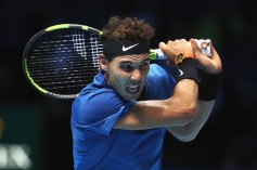 Rafael Nadal of Spain plays a backhand in his Singles match against David Goffin of Belgium during day two of the Nitto ATP World Tour Finals at O2 Arena on November 13, 2017 in London, England. (Nov. 12, 2017 - Source: Julian Finney/Getty Images Europe)