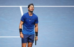 Rafael Nadal of Spain reacts in his Singles match against David Goffin of Belgium during day two of the Nitto ATP World Tour Finals at O2 Arena on November 13, 2017 in London, England. (Nov. 12, 2017 - Source: Clive Brunskill/Getty Images Europe)