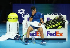 Rafael Nadal of Spain looks dejected in his Singles match against David Goffin of Belgium during day two of the Nitto ATP World Tour Finals at O2 Arena on November 13, 2017 in London, England. (Nov. 12, 2017 - Source: Clive Brunskill/Getty Images Europe)