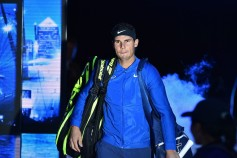 Spain's Rafael Nadal arrives to play his singles match against Belgium's David Goffin during day two of the ATP World Tour Finals tennis tournament at the O2 Arena in London on November 13, 2017. / AFP PHOTO / Glyn KIRK
