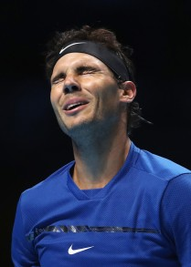 Rafael Nadal of Spain reacts in his Singles match against David Goffin of Belgium during day two of the Nitto ATP World Tour Finals at O2 Arena on November 13, 2017 in London, England. (Nov. 12, 2017 - Source: Julian Finney/Getty Images Europe)