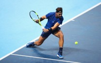 Rafael Nadal of Spain plays a backhand in his Singles match against David Goffin of Belgium during day two of the Nitto ATP World Tour Finals at O2 Arena on November 13, 2017 in London, England. (Nov. 12, 2017 - Source: Clive Brunskill/Getty Images Europe)