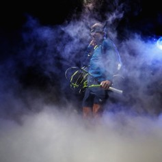 World number one Rafael Nadal of Spain waits backstage to walk out on to the court for his first round robin match against David Goffin of Belgium at the Nitto ATP World Tour Finals at O2 Arena on November 13, 2017 in London, England. (Nov. 12, 2017 - Source: Clive Brunskill/Getty Images Europe)