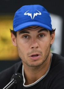 Spain's Rafael Nadal addresses a press conference ahead of the quarter-final round at the ATP World Tour Masters 1000 indoor tennis tournament on November 3, 2017 in Paris..Nadal announced that he withdraws from the Paris Masters tournament. / AFP PHOTO / CHRISTOPHE ARCHAMBAULT (Nov. 2, 2017 - Source: AFP)