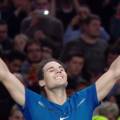 Spain's Rafael Nadal celebrates winning against South Korea's Hyeon Chung during their second round match at the ATP World Tour Masters 1000 indoor tennis tournament on November 1, 2017 in Paris..Nadal won the match 7-5, 6-3. / AFP PHOTO / CHRISTOPHE ARCHAMBAULT (Oct. 31, 2017 - Source: AFP)