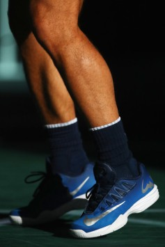 A detailed view of the shoes worn by Rafael Nadal of Spain prior to his match against Chung Hyeon of South Korea during Day 3 of the Rolex Paris Masters held at the AccorHotels Arena on November 1, 2017 in Paris, France. (Oct. 31, 2017 - Source: Dean Mouhtaropoulos/Getty Images Europe)