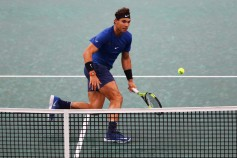 Rafael Nadal of Spain chases a shot against Chung Hyeon of South Korea during Day 3 of the Rolex Paris Masters held at the AccorHotels Arena on November 1, 2017 in Paris, France. (Oct. 31, 2017 - Source: Dean Mouhtaropoulos/Getty Images Europe)