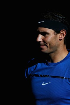 Rafael Nadal of Spain looks on prior to his match against Chung Hyeon of South Korea during Day 3 of the Rolex Paris Masters held at the AccorHotels Arena on November 1, 2017 in Paris, France. (Oct. 31, 2017 - Source: Dean Mouhtaropoulos/Getty Images Europe)