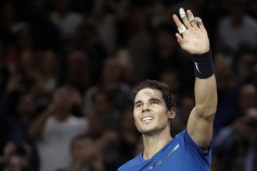 Spain's Rafael Nadal celebrates winning against South Korea's Hyeon Chung during their second round match at the ATP World Tour Masters 1000 indoor tennis tournament on November 1, 2017 in Paris..Nadal won the match 7-5, 6-3 and qualified for the third round of the tournament. / AFP PHOTO / Thomas Samson (Oct. 31, 2017 - Source: AFP)