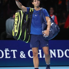 Rafael Nadal of Spain leaves the court after defeat in his Singles match against David Goffin of Belgium during day two of the Nitto ATP World Tour Finals at O2 Arena on November 13, 2017 in London, England. (Nov. 12, 2017 - Source: Julian Finney/Getty Images Europe)