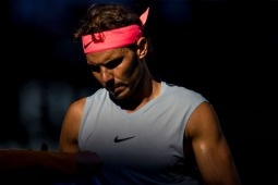MELBOURNE, VIC - JANUARY 17: Rafael Nadal of Spain contemplates in his second round match during the 2018 Australian Open on January 17, 2018, at Melbourne Park Tennis Centre in Melbourne, Australia. (Photo by Jason Heidrich/Icon Sportswire via Getty Images)MELBOURNE, VIC - JANUARY 17: