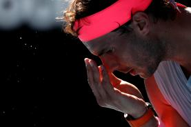 Tennis - Australian Open - Rod Laver Arena, Melbourne, Australia, January 17, 2018. Spain's Rafael Nadal prepares to serve during his match against Argentina's Leonardo Mayer. REUTERS/Issei Kato