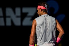 MELBOURNE, VIC - JANUARY 17: Rafael Nadal of Spain prepares to serve in his second round match during the 2018 Australian Open on January 17, 2018, at Melbourne Park Tennis Centre in Melbourne, Australia. (Photo by Jason Heidrich/Icon Sportswire via Getty Images)MELBOURNE, VIC - JANUARY 17: