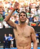 Spain's Rafael Nadal celebrates victory against Argentina's Diego Schwartzman during their men's singles fourth round match on day seven of the Australian Open tennis tournament in Melbourne on January 21, 2018. / AFP PHOTO / SAEED KHAN / -- IMAGE RESTRICTED TO EDITORIAL USE - STRICTLY NO COMMERCIAL USE -- (Photo credit should read SAEED KHAN/AFP/Getty Images)