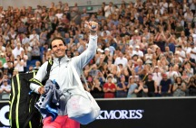 Spain's Rafael Nadal waves to the crowd after beating Bosnia's Damir Dzumhur in their men's singles third round match on day five of the Australian Open tennis tournament in Melbourne on January 19, 2018. / AFP PHOTO / SAEED KHAN / -- IMAGE RESTRICTED TO EDITORIAL USE - STRICTLY NO COMMERCIAL USE -- (Photo credit should read SAEED KHAN/AFP/Getty Images)