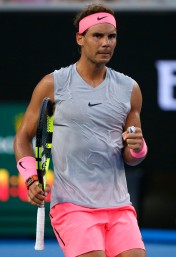 Tennis - Australian Open - Margaret Court Arena, Melbourne, Australia, January 19, 2018. Spain's Rafael Nadal celebrates during his match against Bosnia and Herzegovina's Damir Dzumhur. REUTERS/Toru Hanai