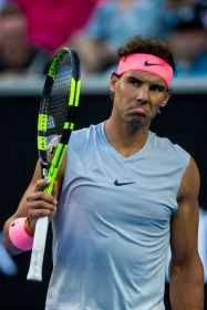 MELBOURNE, VIC - JANUARY 19: Rafael Nadal of Spain challenges a decision in his third round match during the 2018 Australian Open on January 19, 2018, at Melbourne Park Tennis Centre in Melbourne, Australia. (Photo by Jason Heidrich/Icon Sportswire via Getty Images)