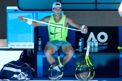 Rafael Nadal of Spain trains ahead of the Australian Open Grand Slam at Rod Laver Arena on January 5, 2018 in Melbourne, Australia. (Jan. 4, 2018 - Source: Fiona Hamilton/Getty Images AsiaPac)