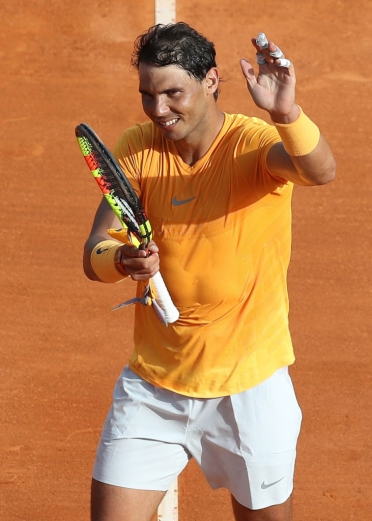 Rafael Nadal celebrates after winning the match against Aljaz Bedene during the Monte-Carlo ATP Masters Series Tournament, on April 18, 2018 in Monaco. / AFP PHOTO / VALERY HACHE (Photo credit should read VALERY HACHE/AFP/Getty Images)