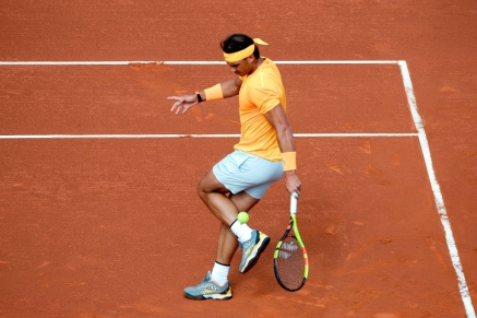Spain's Rafael Nadal fails to return the ball to Slovakia's Martin Klizan during their Barcelona Open ATP tournament quarter-final tennis match in Barcelona on April 27, 2018. (Photo by Josep LAGO / AFP) (Photo credit should read JOSEP LAGO/AFP/Getty Images)