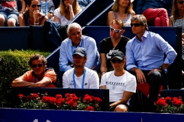 Rafael NADAL from Spain coach Francis Roig and close friends during the Barcelona Open Banc Sabadell 66 Trofeo Conde de Godo at Reial Club Tenis Barcelona on 25 of April of 2018 in Barcelona. (Photo by Xavier Bonilla/NurPhoto via Getty Images)