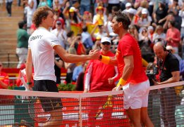 Tennis - Davis Cup - Quarter Final - Spain vs Germany - Plaza de Toros de Valencia, Valencia, Spain - April 8, 2018 Spain's Rafael Nadal shakes hands with Germany's Alexander Zverev after their match REUTERS/Heino Kalis