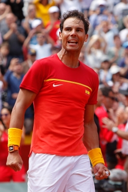 Spain's Rafael Nadal reacts after defeating Germany's Alexander Zverev 6-1, 6-4, 6-4 during a World Group Quarter final Davis Cup tennis match between Spain and Germany at the bullring in Valencia, Spain, Sunday April 8, 2018. (AP Photo/Alberto Saiz)