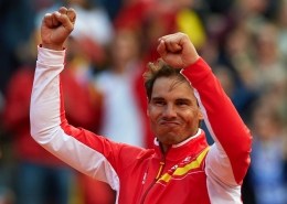 VALENCIA, SPAIN - APRIL 08: Rafael Nadal of Spain celebrates after day three of the Davis Cup World Group Quarter Final match between Spain and Germany at at Plaza de Toros de Valencia on April 8, 2018 in Valencia, Spain. (Photo by Manuel Queimadelos Alonso/Getty Images)
