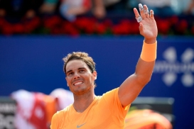 Spain's Rafael Nadal celebrates after beating Belgium's David Goffin during their Barcelona Open ATP tournament semi-final tennis match in Barcelona on April 28, 2018. (Photo by Josep LAGO / AFP) (Photo credit should read JOSEP LAGO/AFP/Getty Images)
