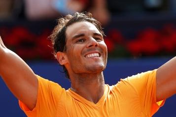 Spain's Rafael Nadal celebrates winning his semifinal match against Belgium's David Goffin in two sets 6-4, 6-0, during the Barcelona Open Tennis Tournament in Barcelona, Spain, Saturday, April 28, 2018. (AP Photo/Manu Fernandez)