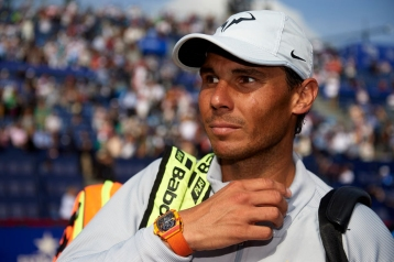 BARCELONA, SPAIN - APRIL 28: Rafael Nadal of Spain looks on after his win against David Goffin of Belgium during day sixth of the ATP Barcelona Open Banc Sabadell at the Real Club de Tenis Barcelona on April 28, 2018 in Barcelona, Spain. (Photo by Quality Sport Images/Getty Images)