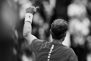 (EDITORS NOTE: the image has been converted to black and white) Rafael Nadal of Spain celebrates the victory in his match against Philipp Kohlschreiber of Germany during day one of the Davis Cup World Group Quarter Finals match between Spain and Germany at Plaza de Toros de Valencia on April 6, 2018 in Valencia, Spain (Photo by David Aliaga/NurPhoto via Getty Images)