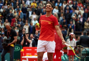 VALENCIA, SPAIN - APRIL 06: Rafael Nadal of Spain celebrates after defeating Philipp Kohlschreiber of Germany during day one of the Davis Cup World Group Quarter Final match between Spain and Germany at Plaza de Toros de Valencia on April 6, 2018 in Valencia, Spain. (Photo by Manuel Queimadelos Alonso/Getty Images)
