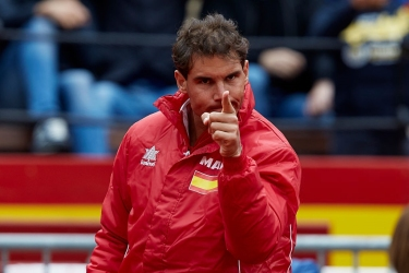 Rafael Nadal of Spain reacts during the doubles match between Feliciano Lopez and Marc Lopez of Spain against Tim Putz and Jan-Lennard Struff of Germany during day two of the Davis Cup World Group Quarter Finals match between Spain and Germany at Plaza de Toros de Valencia on April 7, 2018 in Valencia, Spain (Photo by David Aliaga/NurPhoto via Getty Images)