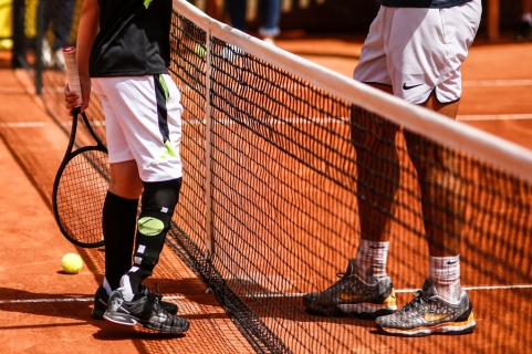 Marc Krajekian, a 10-year-old cancer survivor from North Carolina playing with his hero Rafael Nadal during the Barcelona Open Banc Sabadell 66 Trofeo Conde de Godo at Reial Club Tenis Barcelona on 24 of April of 2018 in Barcelona. (Photo by Xavier Bonilla/NurPhoto via Getty Images)