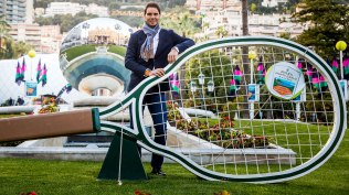 Rafael Nadal poses prior to the 2018 Monte Carlo Masters draw ceremony