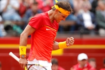 Spain's Rafael Nadal reacts during his match against Germany's Philipp Kohlschreiber during a World Group Quarter final Davis Cup tennis match between Spain and Germany at the bullring in Valencia, Spain, Friday April 6, 2018. (AP Photo/Alberto Saiz)
