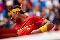Rafael Nadal of Spain celebrates a point in his match against Philipp Kohlschreiber of Germany during day one of the Davis Cup World Group Quarter Finals match between Spain and Germany at Plaza de Toros de Valencia on April 6, 2018 in Valencia, Spain (Photo by David Aliaga/NurPhoto via Getty Images)