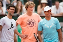 2018 French Open Tennis Tournament - Rafael Nadal of Spain, Novak Djokovic of Serbia and Alexander Zverev of Germany on Court Philippe Chatrier during a packed Children's Day at Roland Garros before the start of the 2018 French Open Tennis Tournament at Roland Garros on May 26th 2018 in Paris, France. (Photo by Tim Clayton/Corbis via Getty Images)
