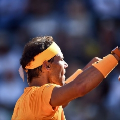 Spain's Rafael Nadal celebrates after winning the semi final match against Serbia's Novak Djokovic at Rome's ATP Tennis Open tournament at the Foro Italico, on May 19, 2018 in Rome. (Photo by FILIPPO MONTEFORTE / AFP) (Photo credit should read FILIPPO MONTEFORTE/AFP/Getty Images)